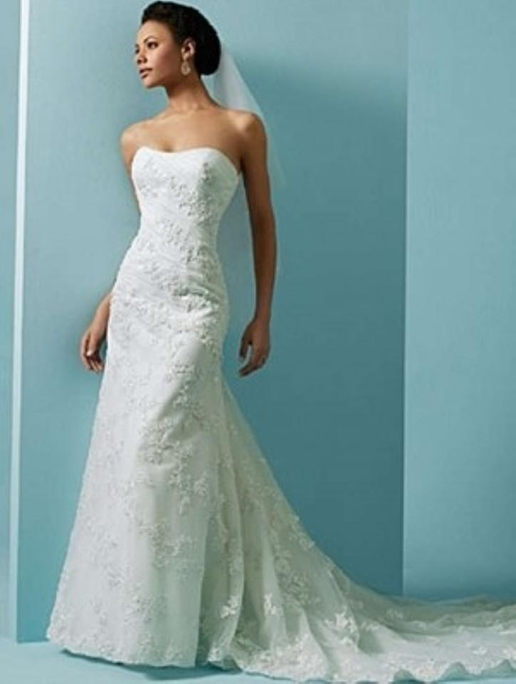 Alfred Angelo White Net/Satin 1807 Formal Wedding Dress Size 20 ...