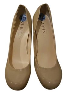 Guess Patent Leather Cork Heel Nude Platforms