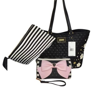 Betsey Johnson Appliques Pouch Tote in black