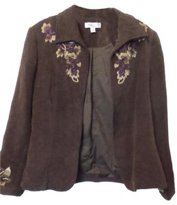 Coldwater Creek Embroidered Beaded Large Brown w/ Purple & Tan Jacket