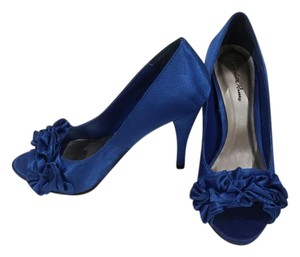 Charlotte Russe Cobalt Open Toe Ruffle Satin Blue Pumps
