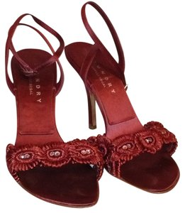 Laundry by Shelli Segal Satin Crystal Ankle Strap Leather Burgandy Formal