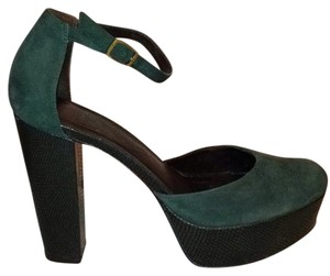 Diane von Furstenberg Suede Leather Platform Green Platforms