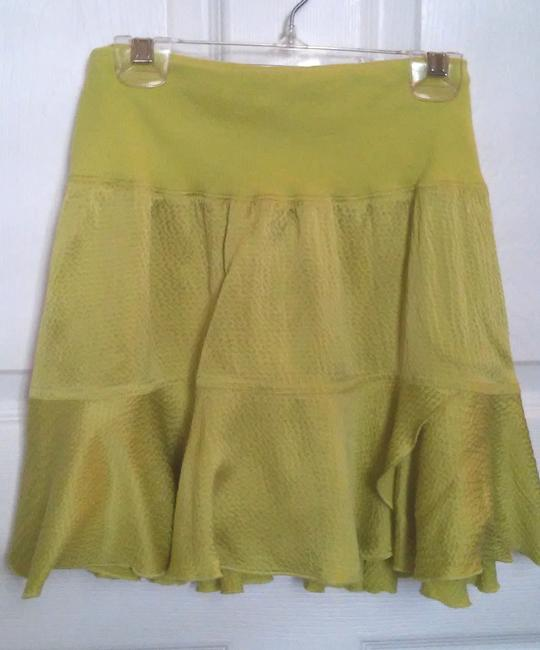 bebe Mini Silk Mini Skirt Green