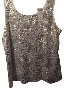 Black Label by Chico's Top White top with silver sequins all over front