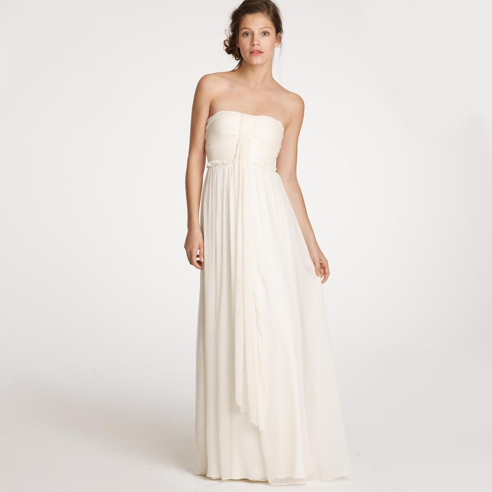 Beautiful J.Crew Ivory Silk Chiffon Whitney Destination Wedding Dress Size  ZZ81