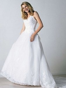 Alfred Angelo White 1484 Formal Wedding Dress Size 6 (S)