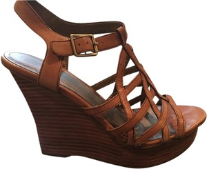 Star Ling Shoe Leather Tan Brown Wedges