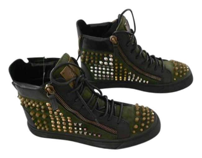 Item - Green Rs5115 Studded Suede/Leather Women's High Top Sneakers Size EU 40 (Approx. US 10) Regular (M, B)