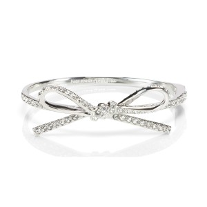 Kate Spade Skinny Mini Pave Bow Bangle, Clear/Silver