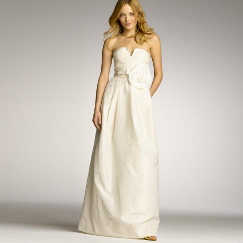 J.Crew Ivory Silk Taffeta Sascha Modern Wedding Dress Size 8 (M ...