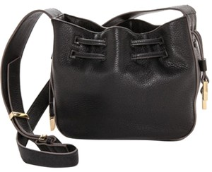 Halston Leather Drawstring Pebbled Leather Dust Shoulder Bag