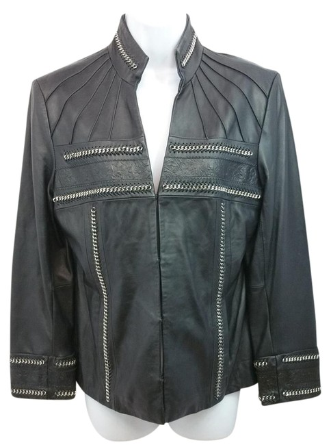 Item - Chain and Embossed Detail Black S Jacket Size 6 (S)