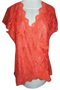 Maurices Lace Wrap V-neck Top Peach