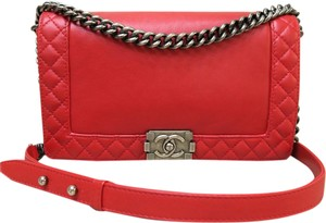 Chanel Boy Reverso Medium Satchel in red