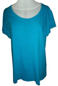 Faded Glory Cotton Short Sleeve Casual T Shirt Turquoise