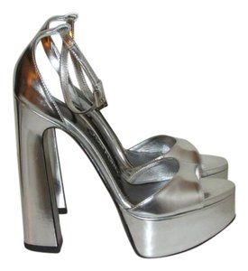 Tom Ford Metallic Silver Leather Sandals