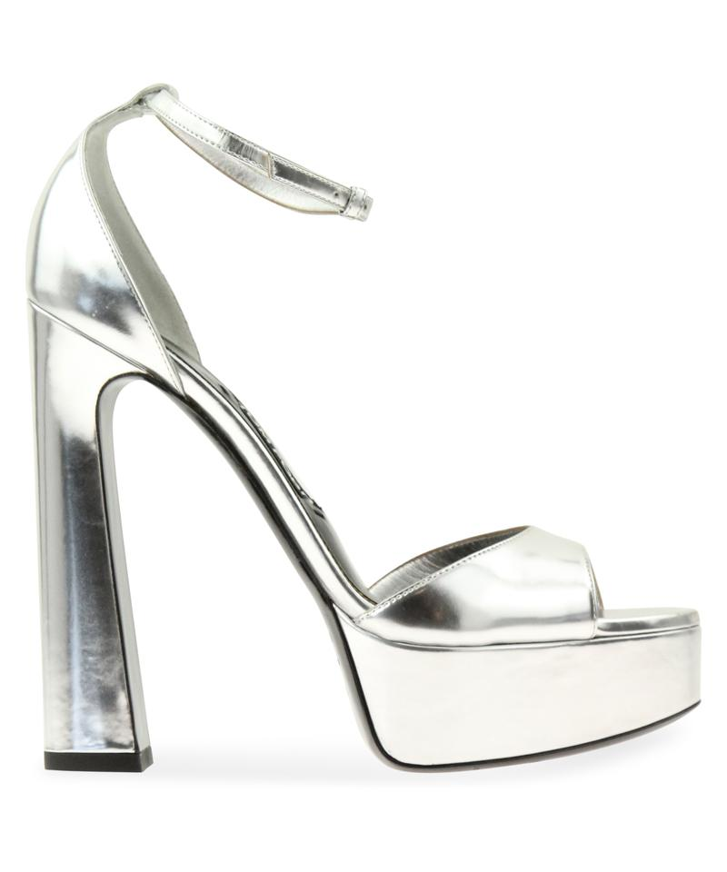 41cf6932398 Tom Ford Silver Ankle Strap Platform Sandals Size EU 40.5 (Approx ...
