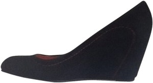 Via Spiga Black With Red Stitching Wedges