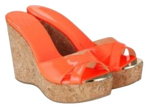Jimmy Choo Italian Patent Leather Wedge Orange Wedges