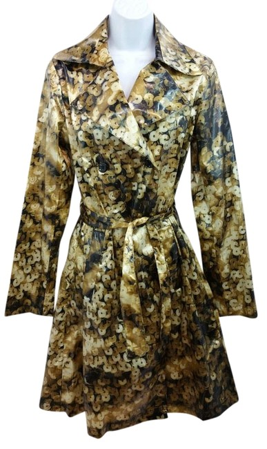Item - Black and Gold Double Breasted Belted Nylon Coat Size 10 (M)
