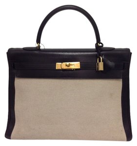 Hermes Leather Canvas Kelly Satchel in Black/ Cream