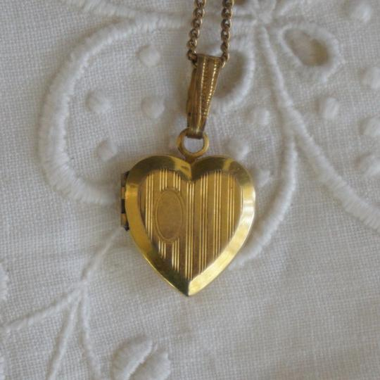 Gold Antique 12k Filled Engravable Heart Locket Necklace Bracelets