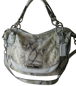 Coach Python Snake Leather Satchel in Parchment White