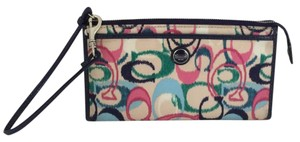 Coach IKAT SCRIBLE Wristlet Wallet Blue