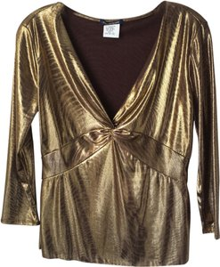 Boston Proper Gold Lame Metallic Blouse Top Gold Metallic