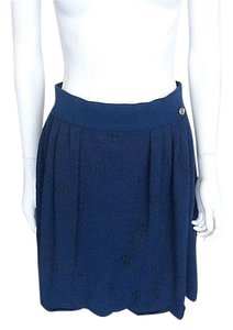 Chanel Knit Camellia Skirt Blue