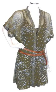 Other short dress Olive,Purple Patterson Kincaid Wbrown Wrap Belt Lg on Tradesy