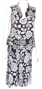 Theory Theory Black-white Floral 2pc Skirt Outfit Sm-p 38-40