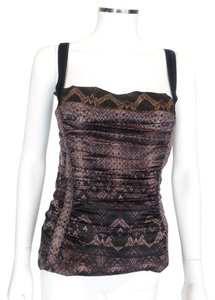 Roberto Cavalli Brown Ruched Top Multi-Color