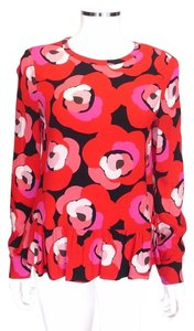 Kate Spade Red Wfloral Top Multi-Color