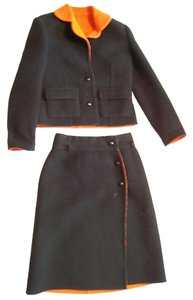 Paul Dannay Geneve Vintage Womens Black Wool Skirt Suit Xss