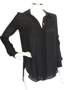Haute Hippie Semi-sheer Silk Top Black