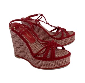 Jean-Michel Cazabat Red Suede Wicker Wedges