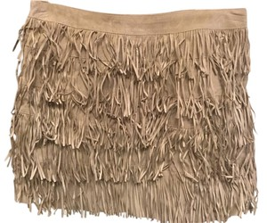 MICHAEL Michael Kors Retro Suede Mini Skirt Tan