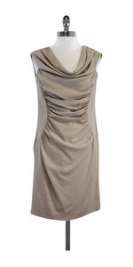 Alberta Ferretti short dress Beige Ruched Wool Sleeveless on Tradesy