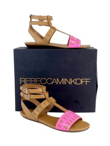 Rebecca Minkoff Barb Brown Pink Leather Sandals