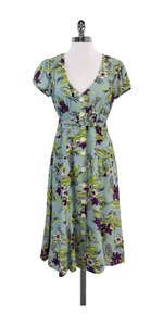 Nanette Lepore Floral Print Silk Short Sleeve Dress