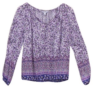 Lucky Brand Bohemian Comfortable Print Bright Breathable Top purple pink blue printed