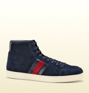 Gucci New Authentic Gucci Mens Suede High-top Sneaker W/brb Leather Web Detail 337221 Navy Size 11.5 G/us 12