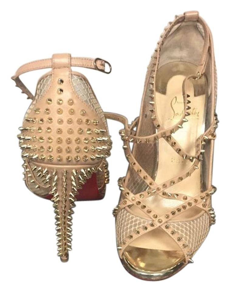9036695ac198 Christian Louboutin Tan Alarc Spiked Strappy Mesh Sandals Formal Shoes