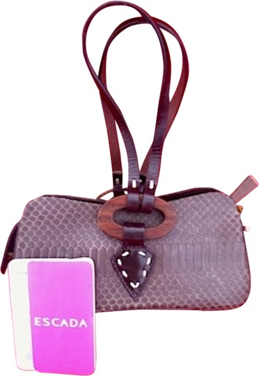 Escada Leather Mother Of Pearl Wristlet Tote in Brown