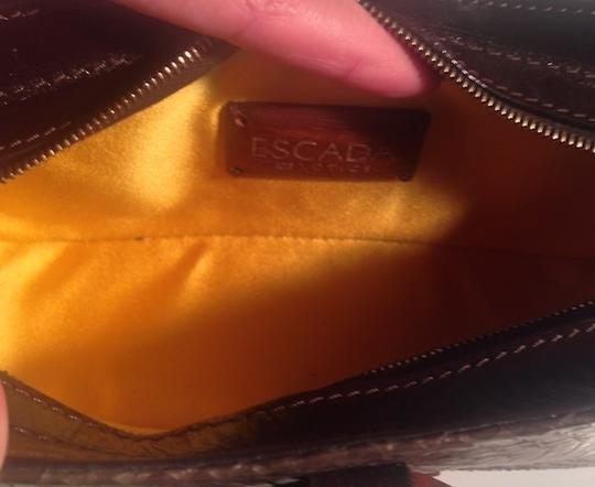Escada Leather Baguette Mother Of Pearl Wristlet Tote in Brown