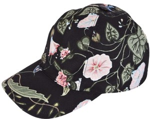 d83636c0154 Gucci Gucci Women s Black Flora Knight Floral Canvas Baseball Hat S