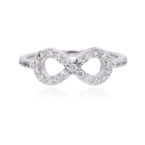 Other 14k White Gold 0.60ctw Diamond Infinity Symbol Ring