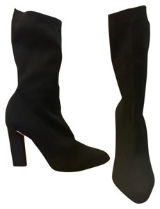 Calvin Klein Collection Knit Baby Calf Stretch Black Boots